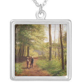 A Walk in the Forest Square Pendant Necklace