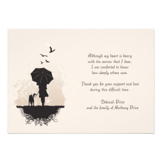 A Walk in the Rain Bereavement Thank You Note Card