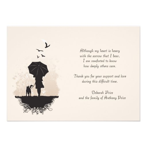 A Walk in the Rain Bereavement Thank You Note Card