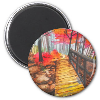 A Walk in the Woods 6 Cm Round Magnet