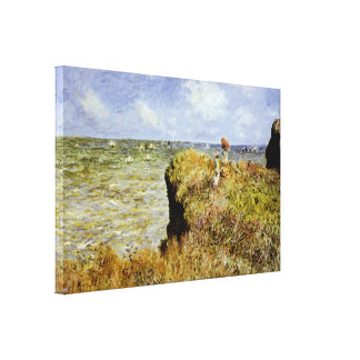 A Walk on the Cliffs at Pourville Stretched Canvas Prints