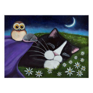 A Watchful Eye | Fantasy Tuxedo Cat Art Poster