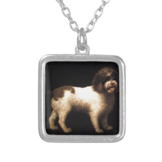 A Water Spaniel by George Stubbs Square Pendant Necklace