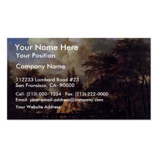 A Waterfall In A Rocky Landscape By Ruisdael Jacob Business Cards