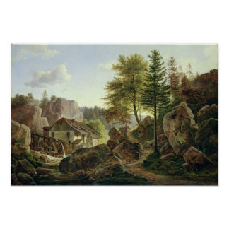 A Watermill in the Vosges near Ribanville, 1836 Poster