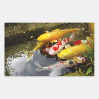 A waterway full of Japanese koi carps Rectangular Sticker