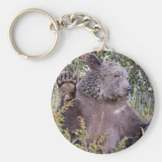 A Waving Grizzly Bear Basic Round Button Key Ring