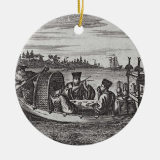 A Wealthy Mandarin Dining in a Boat, illustration Christmas Ornament