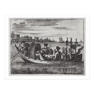 A Wealthy Mandarin Dining in a Boat, illustration Postcard