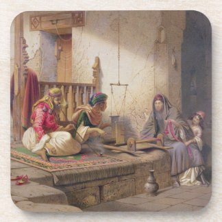 A weaver in Esna, one of 24 illustrations produced Drink Coaster
