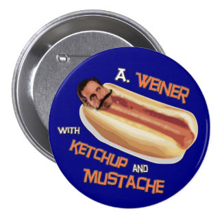 A Weiner with ketchup & mustache Button