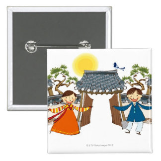A Welcoming Boy and Girl 15 Cm Square Badge