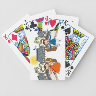 A Welcoming Boy and Girl Bicycle Playing Cards
