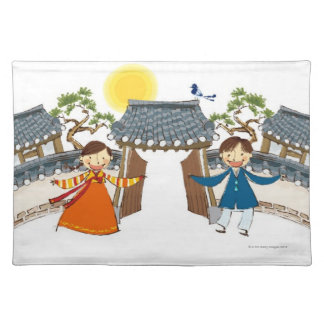 A Welcoming Boy and Girl Placemat
