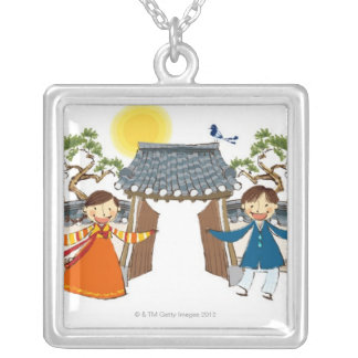 A Welcoming Boy and Girl Silver Plated Necklace