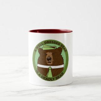 A Well Dressed Bear Is A Deadly Bear Two-Tone Coffee Mug