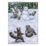A West Coast Christmas: Raccoons Greeting Card