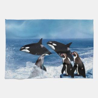 A whale of a world tea towel