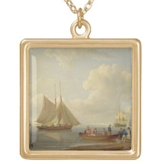 A Wherry Taking Passengers out to Two Anchored Pac Gold Plated Necklace