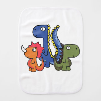 A whimsical dinosaur friend, cute and adorable. burp cloth