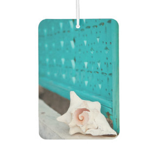 A White And Pink Jamaican Sea Shell Sits Alone Car Air Freshener