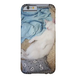 A white cat sleeping in a laundry basket, barely there iPhone 6 case