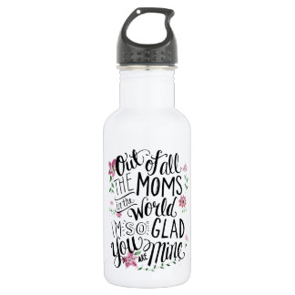 A White Floral Water Bottle by Mini Brothers
