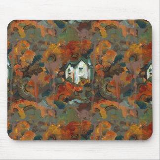 A White House & Autumn Trees Mouse Pad