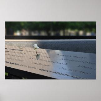 A white rose on Ground Zero Memorial Poster