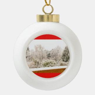 a white winter landscape on Ceramic Ball Ornament