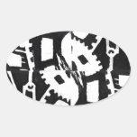 A whole clockwork effect oval sticker