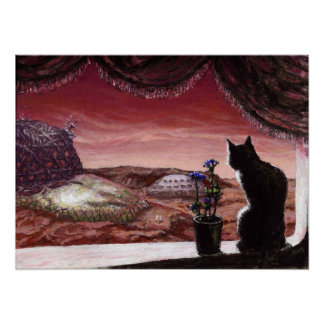 A Whole New World - Sci-Fi - Cat on Mars Poster