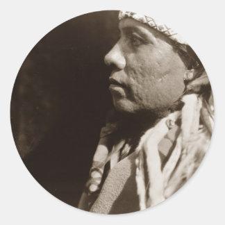 A Wichita Native North American Indian man Round Sticker