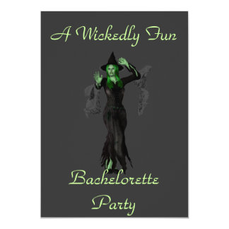 """""""A Wickedly Fun Bachelorette Party"""" w/ Witch 13 Cm X 18 Cm Invitation Card"""