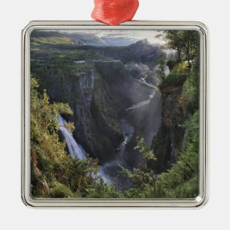 A wide evening view - Hordaland, Norway Silver-Colored Square Decoration