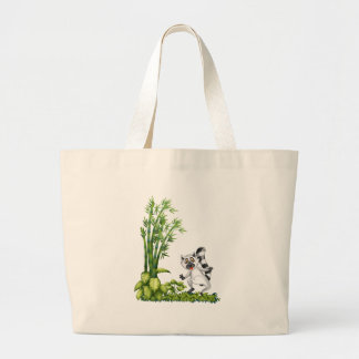 A wild animal near the bamboo plant jumbo tote bag