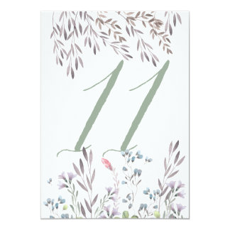 A Wildflower Wedding Table No. 11 Double Sided 13 Cm X 18 Cm Invitation Card