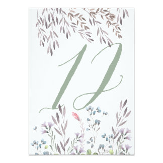 A Wildflower Wedding Table No. 12 Double Sided Card