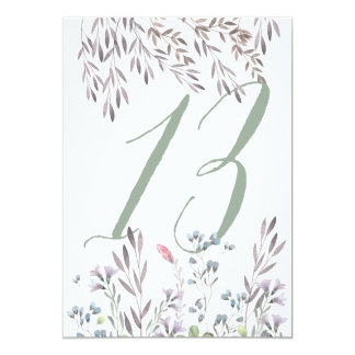 A Wildflower Wedding Table No. 13 Double Sided 13 Cm X 18 Cm Invitation Card