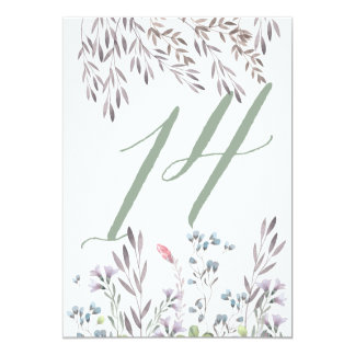 A Wildflower Wedding Table No. 14 Double Sided 13 Cm X 18 Cm Invitation Card