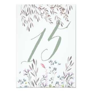 A Wildflower Wedding Table No. 15 Double Sided 13 Cm X 18 Cm Invitation Card