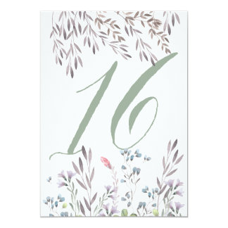A Wildflower Wedding Table No. 16 Double Sided 13 Cm X 18 Cm Invitation Card