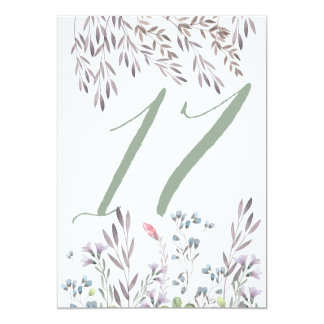 A Wildflower Wedding Table No. 17 Double Sided 13 Cm X 18 Cm Invitation Card