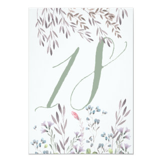 A Wildflower Wedding Table No. 18 Double Sided 13 Cm X 18 Cm Invitation Card
