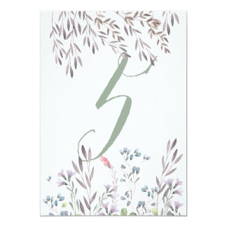 A Wildflower Wedding Table No. 5 Double Sided Card 13 Cm X 18 Cm Invitation Card