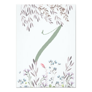 A Wildflower Wedding Table No. 7 Double Sided Card 13 Cm X 18 Cm Invitation Card