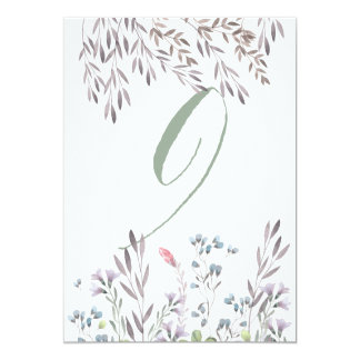 A Wildflower Wedding Table No. 9 Double Sided Card 13 Cm X 18 Cm Invitation Card