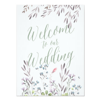 A Wildflower Wedding - Welcome Sign 17 Cm X 22 Cm Invitation Card