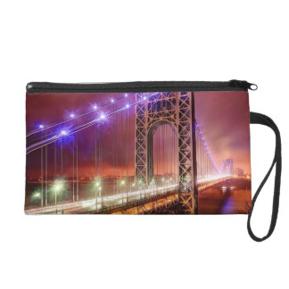 A windy and rainy evening view from Fort Lee Wristlet Clutches
