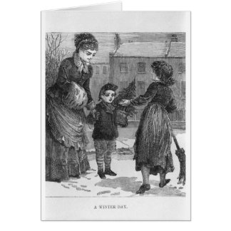 A Winter Day Victorian Christmas Scene Greeting Card